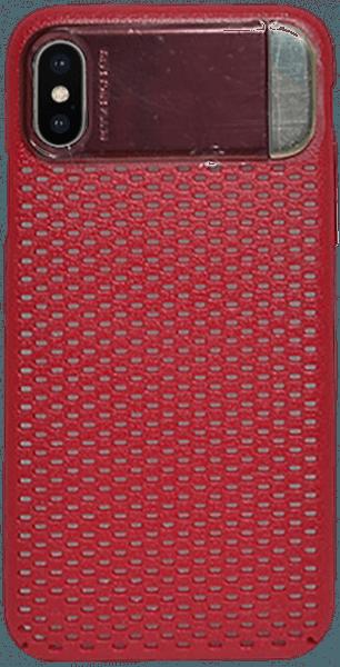 Apple iPhone X kemény hátlap kitámasztó piros
