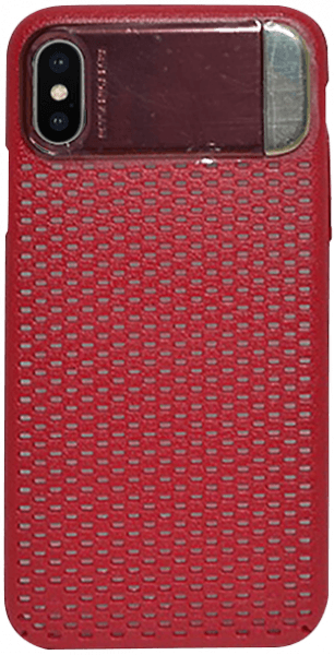 Apple iPhone XS kemény hátlap kitámasztó piros