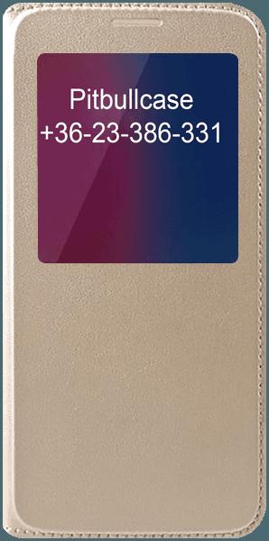 Samsung Galaxy A8 2018 (A530) oldalra nyíló flipes bőrtok View Window arany