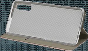 Samsung Galaxy A70 (SM-705) oldalra nyíló flipes bőrtok asztali tartó funkciós arany