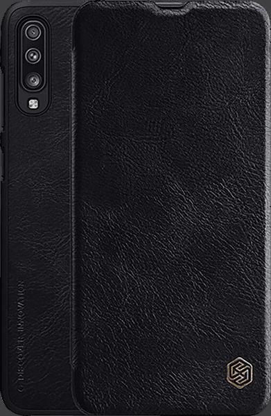 Samsung Galaxy A70 (SM-705) oldalra nyíló flipes bőrtok gyári NILLKIN bankkártya tartó fekete