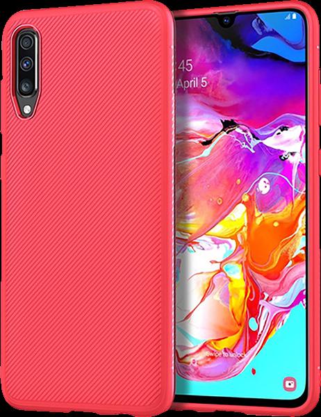 Samsung Galaxy A70 (SM-705) szilikon tok csíkos piros