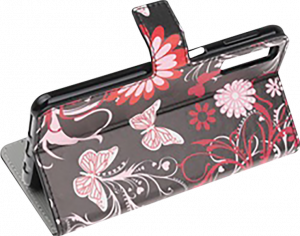 Samsung Galaxy A70 (SM-705) oldalra nyíló flipes bőrtok pillangó-virágminta fekete