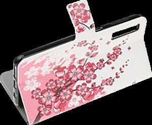 Samsung Galaxy A70 (SM-705) oldalra nyíló flipes bőrtok virágmintás fehér
