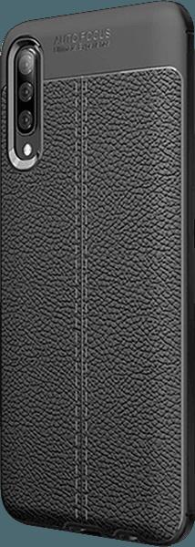 Samsung Galaxy A70 (SM-705) ütésálló tok varrás mintás fekete