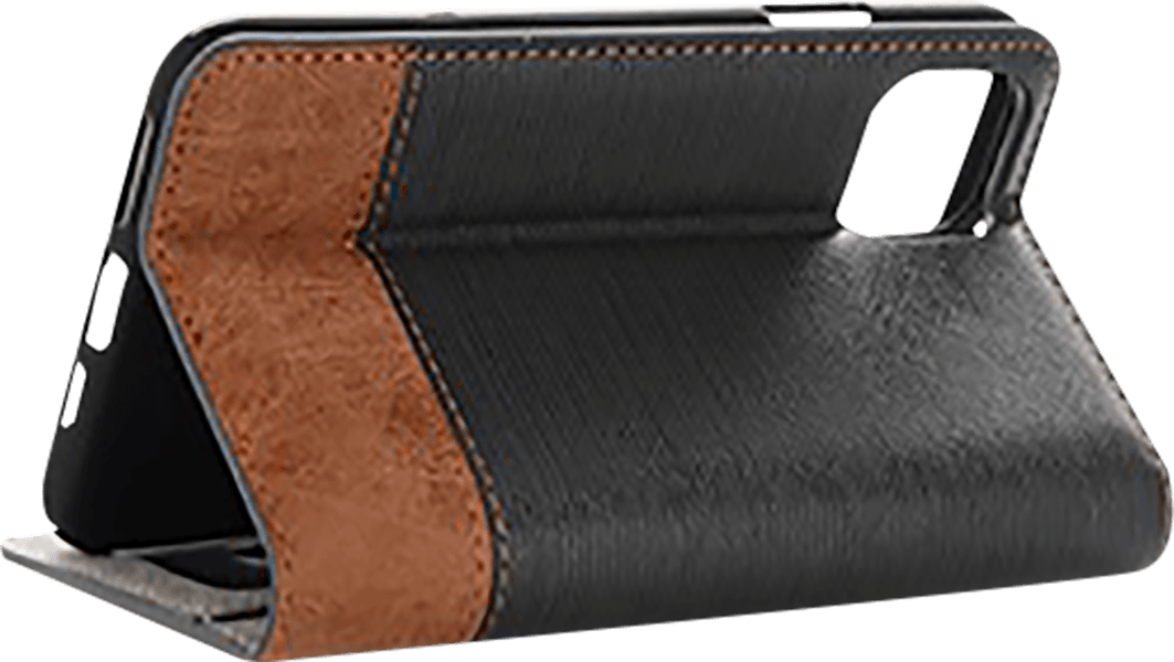 Apple iPhone 11 oldalra nyíló flipes bőrtok textil hatás fekete