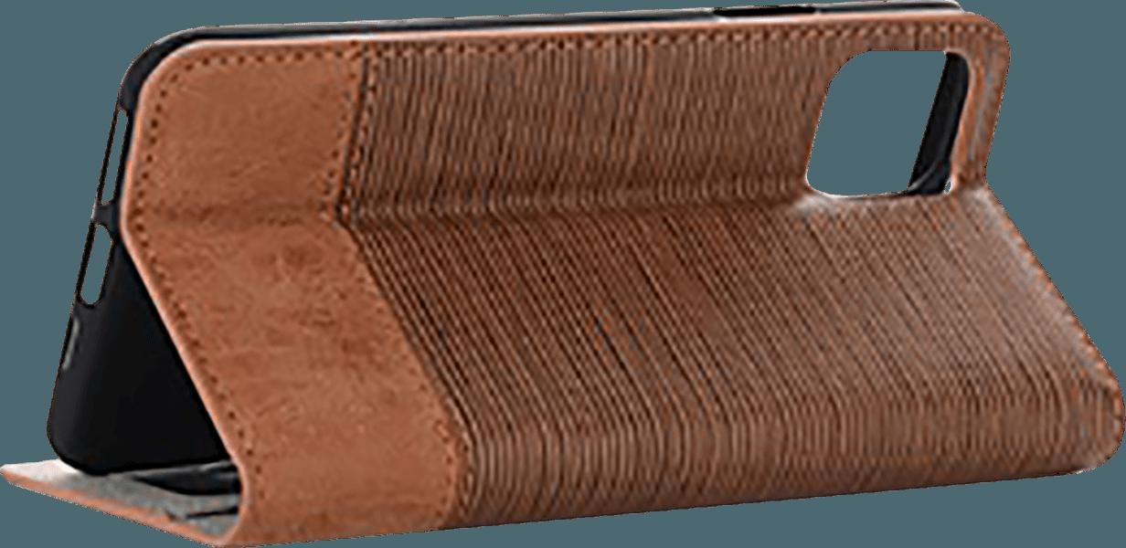 Apple iPhone 11 oldalra nyíló flipes bőrtok textil hatás világosbarna