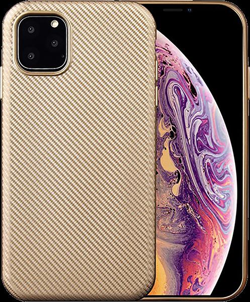 Apple iPhone 11 Pro szilikon tok karbon mintás arany
