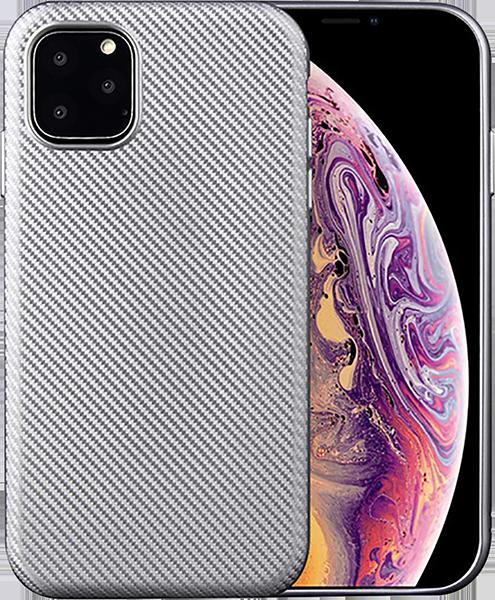 Apple iPhone 11 Pro szilikon tok karbon mintás ezüst