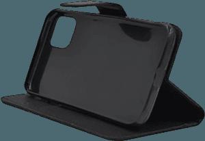 Apple iPhone 11 Pro Max oldalra nyíló flipes bőrtok csuklópánt fekete