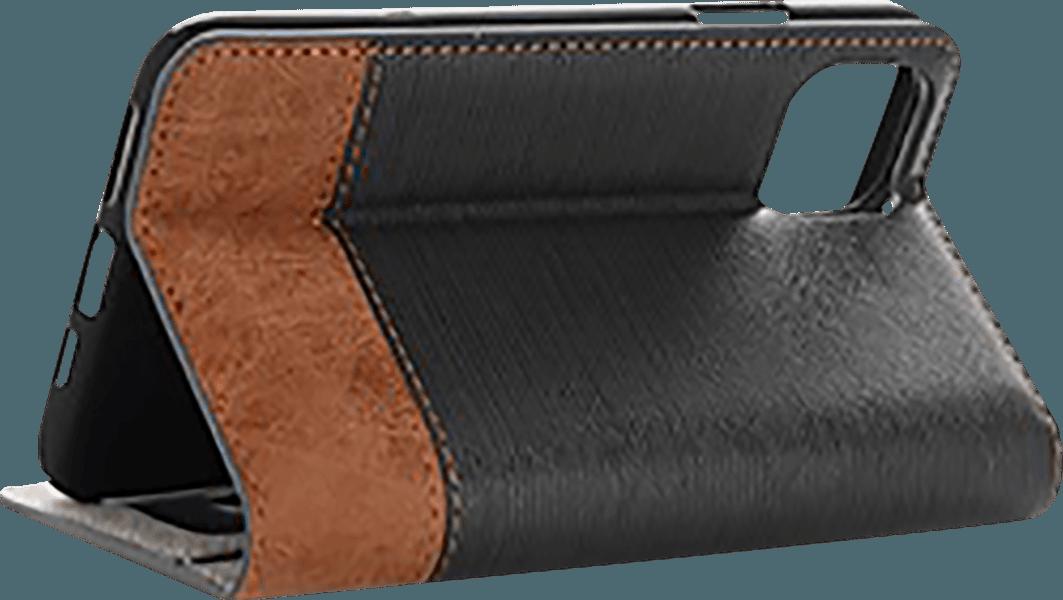 Apple iPhone 11 Pro Max oldalra nyíló flipes bőrtok textil hatás fekete