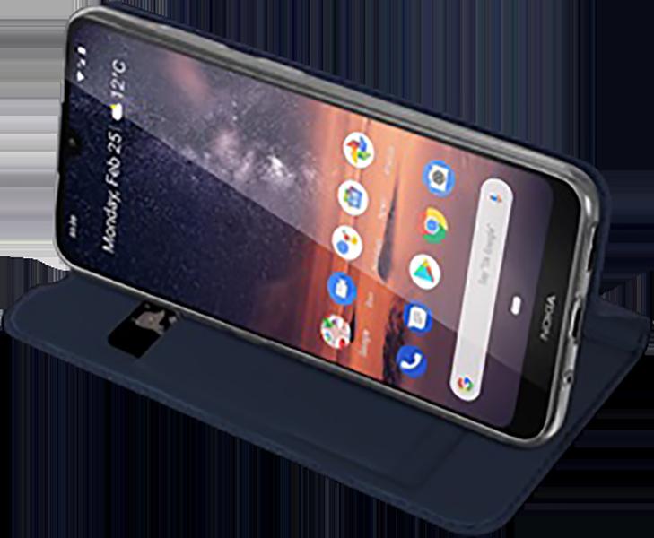 Nokia 3 2019 (Nokia 3.2) oldalra nyíló flipes bőrtok gyári DUX DUCIS bankkártya tartó sötétkék