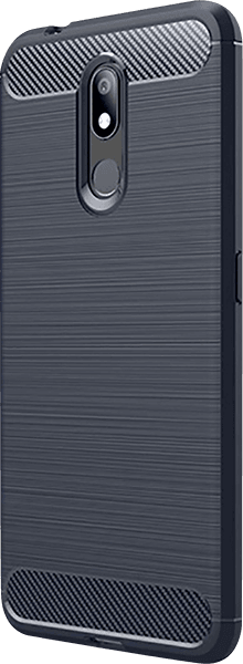 Nokia 3 2019 (Nokia 3.2) ütésálló tok szálcsiszolt - karbon minta légpárnás sarok sötétkék