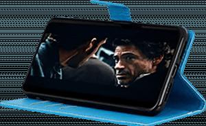 Nokia 3 2019 (Nokia 3.2) oldalra nyíló flipes bőrtok asztali tartó funkciós világoskék