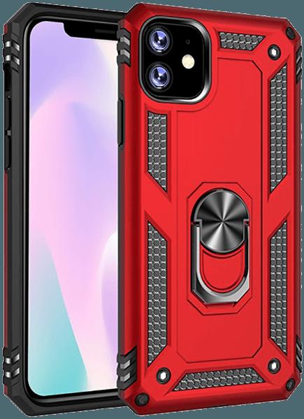 Apple iPhone 11 ütésálló tok beépített fémlemez piros