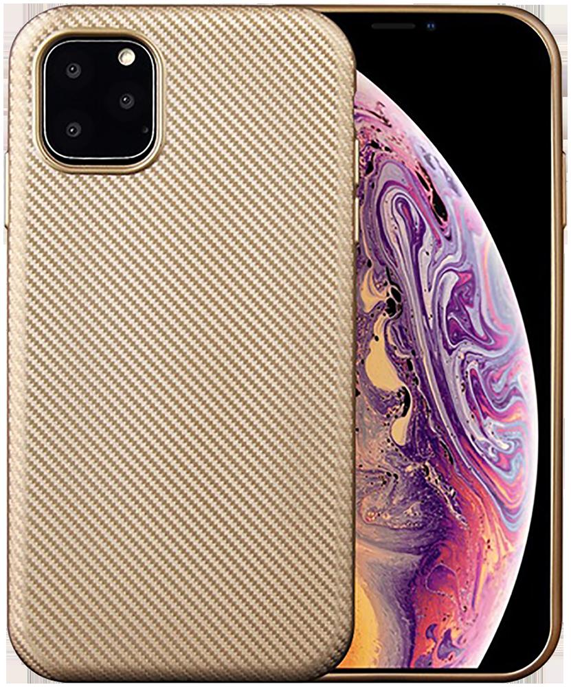 Apple iPhone 11 szilikon tok karbon mintás arany
