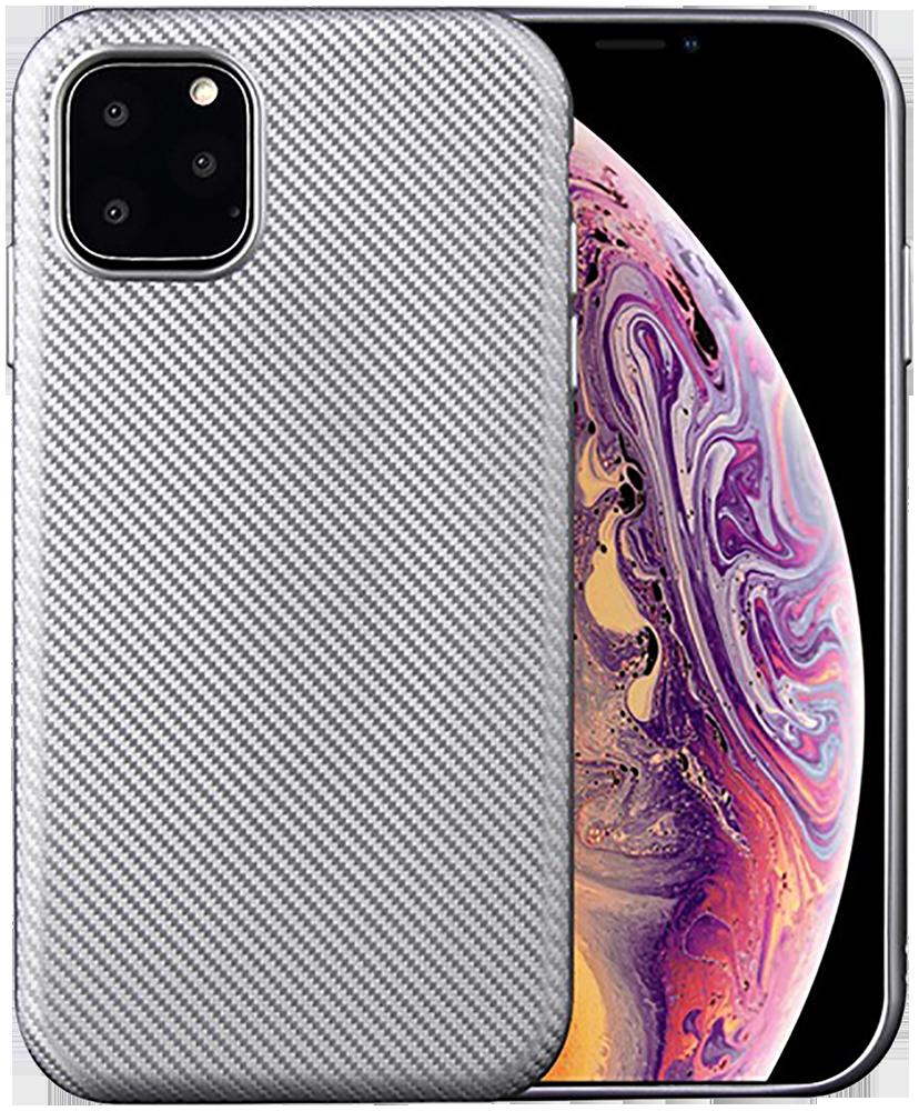 Apple iPhone 11 szilikon tok karbon mintás ezüst