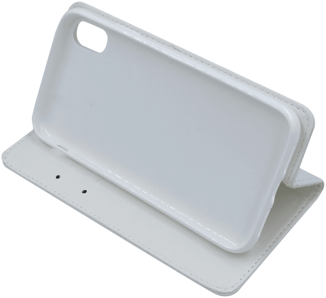 Apple iPhone XR oldalra nyíló mágneses flipes bőrtok asztali tartó funkciós fehér
