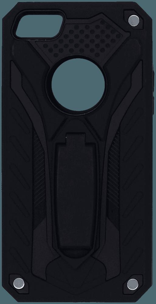 Apple iPhone 5S ütésálló tok logó kihagyós kitámasztóval fekete