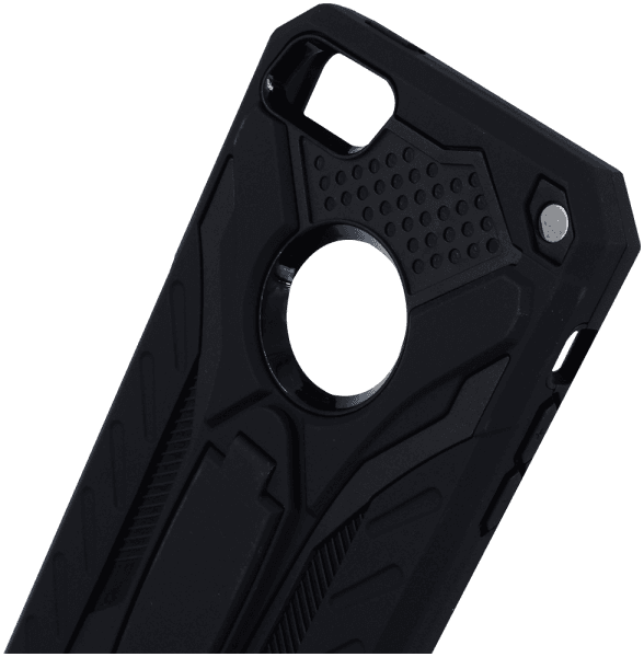 Apple iPhone SE ütésálló tok logó kihagyós kitámasztóval fekete