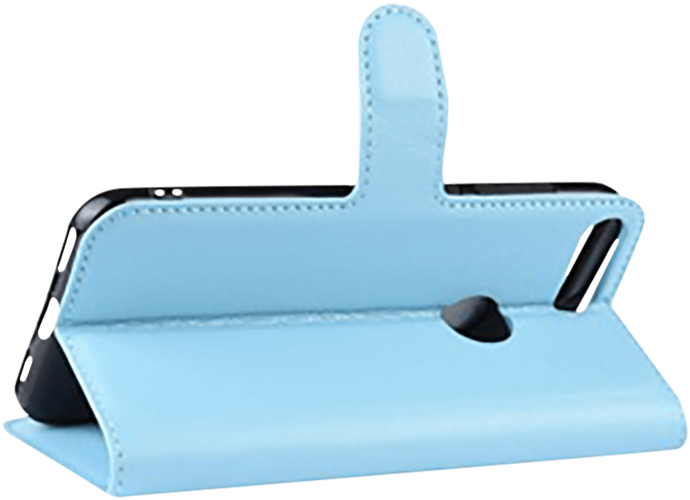 Alcatel 1S (OT-5024D) oldalra nyíló flipes bőrtok asztali tartó funkciós világoskék