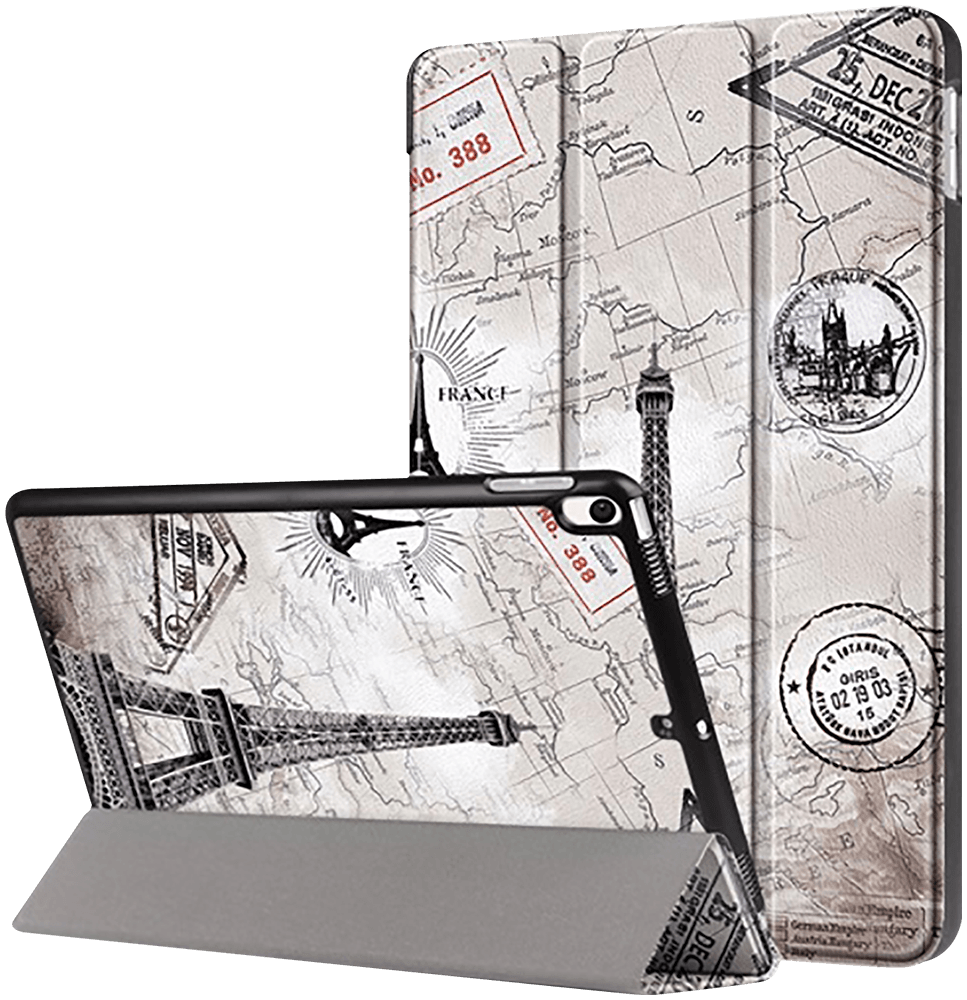Apple iPad Pro 2017 10.5 oldalra nyíló flipes bőrtok Eiffel torony mintás szürke
