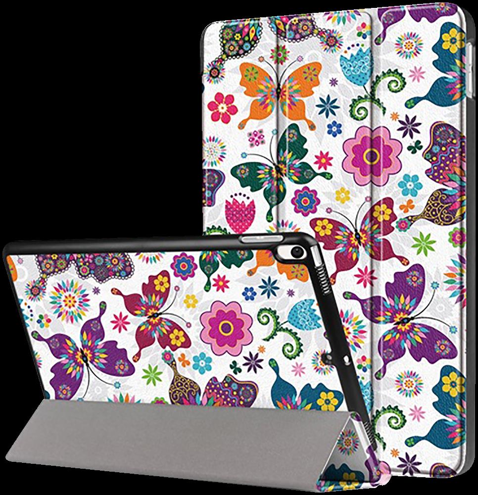 Apple iPad Pro 2017 10.5 oldalra nyíló flipes bőrtok pillangó mintás fehér