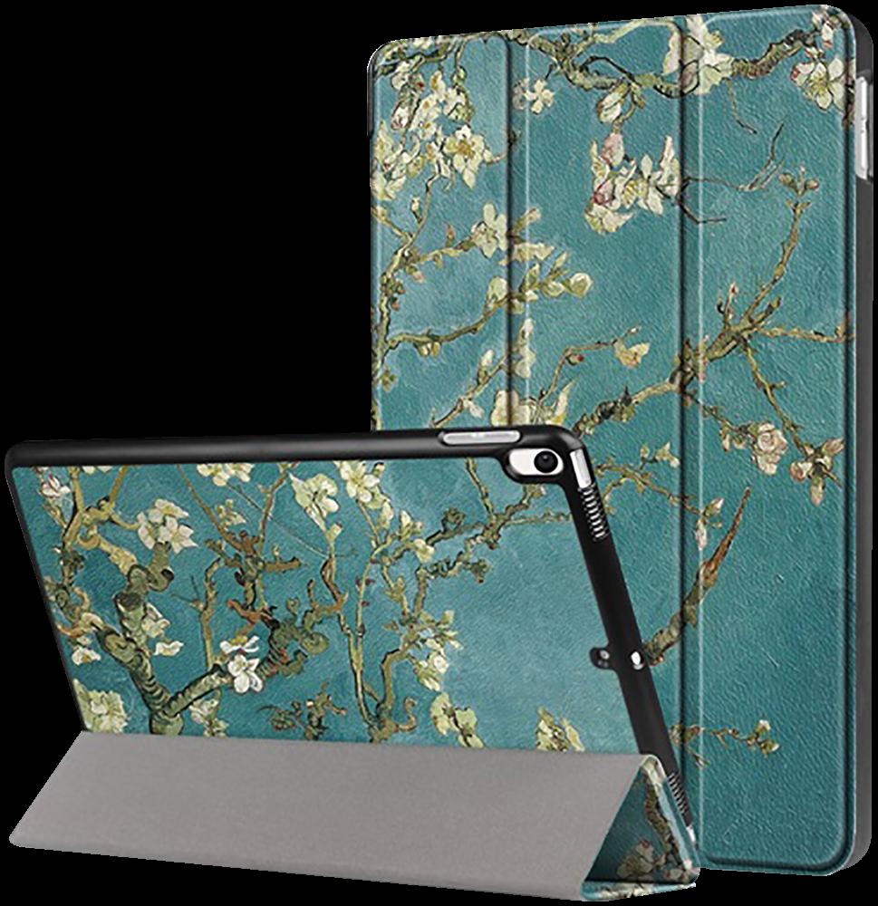Apple iPad Pro 2017 10.5 oldalra nyíló flipes bőrtok virágmintás zöld
