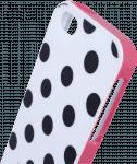Apple iPhone 5 kemény hátlap pöttyös mintás rózsaszín/fehér