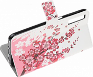 Samsung Galaxy A70s (SM-A707F) oldalra nyíló flipes bőrtok virágmintás fehér