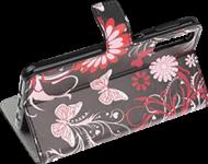 Samsung Galaxy A70s (SM-A707F) oldalra nyíló flipes bőrtok pillangó-virágminta fekete