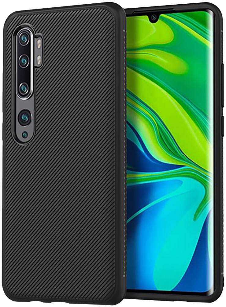 Xiaomi Mi Note 10 Pro szilikon tok csíkos minta fekete