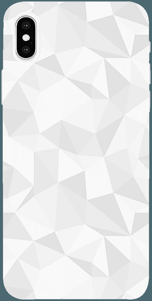 Apple iPhone X szilikon tok 3D gyémántmintás fehér