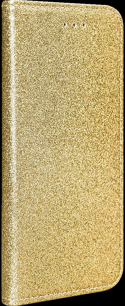 Apple iPhone 11 oldalra nyíló flipes bőrtok csillámos arany