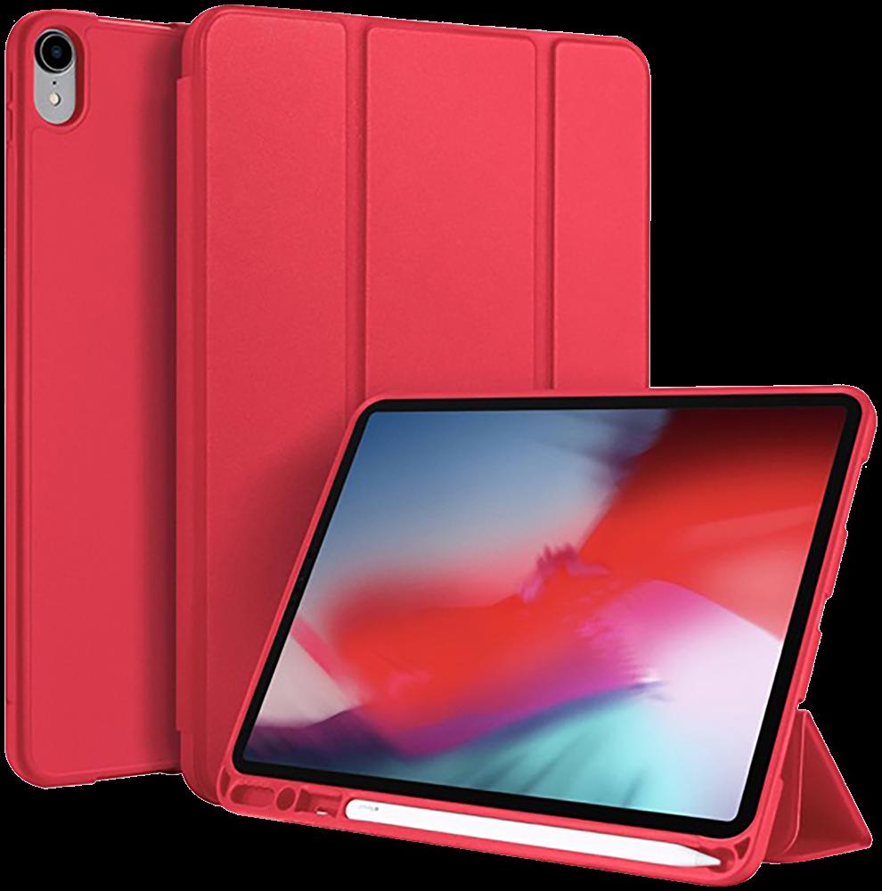 Apple iPad Pro 11 (2018) oldalra nyíló flipes bőrtok gyári DUX DUCIS TRIFOLD asztali tartó funkció piros