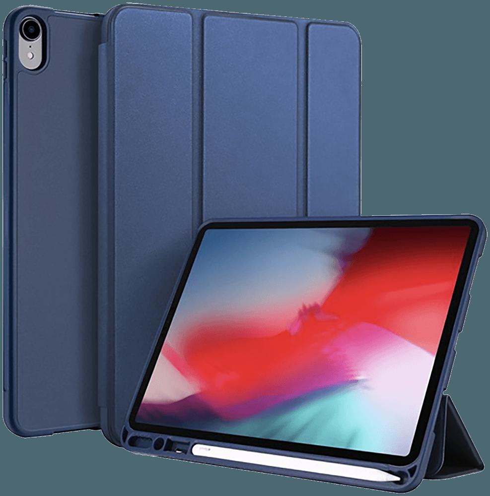 Apple iPad Pro 11 (2018) oldalra nyíló flipes bőrtok gyári DUX DUCIS TRIFOLD asztali tartó funkció sötétkék