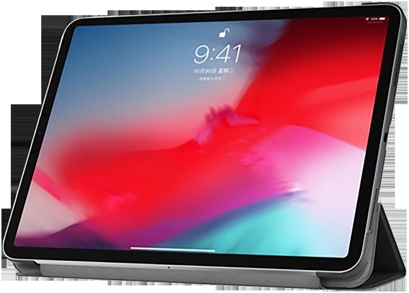 Apple iPad Pro 11 (2018) oldalra nyíló flipes bőrtok TRIFOLD asztali tartó funkció fekete