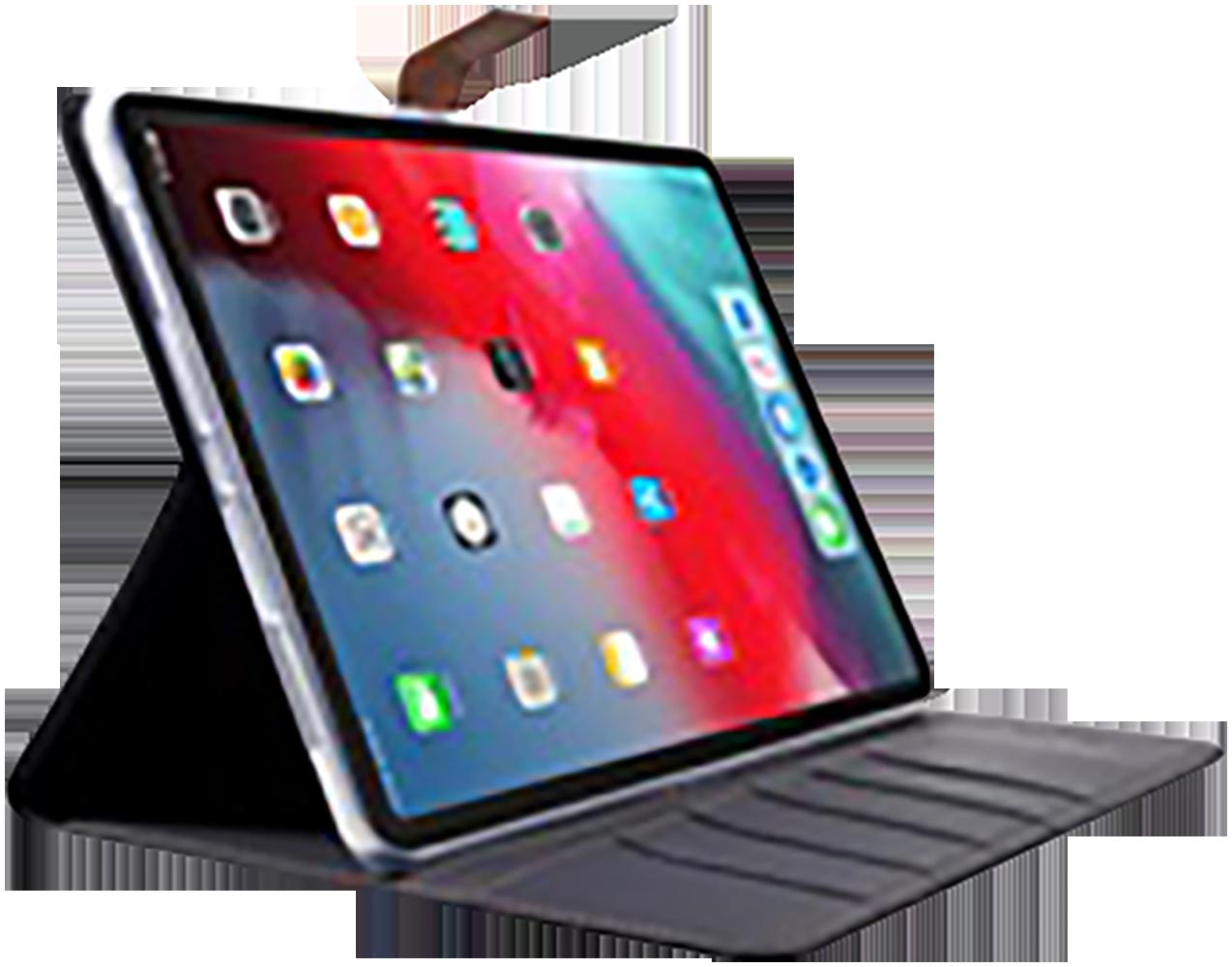Apple iPad Pro 11 (2018) oldalra nyíló flipes bőrtok gyári ROAR textil mintás fekete