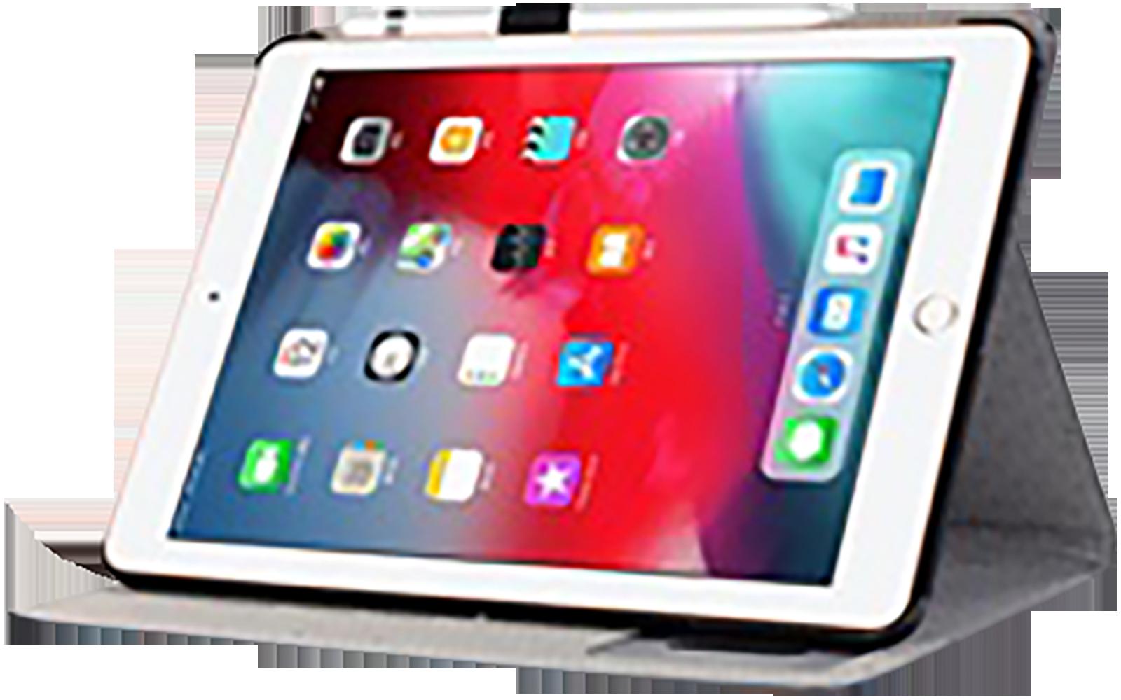 Apple iPad Pro 11 (2018) oldalra nyíló flipes bőrtok textil mintás kék