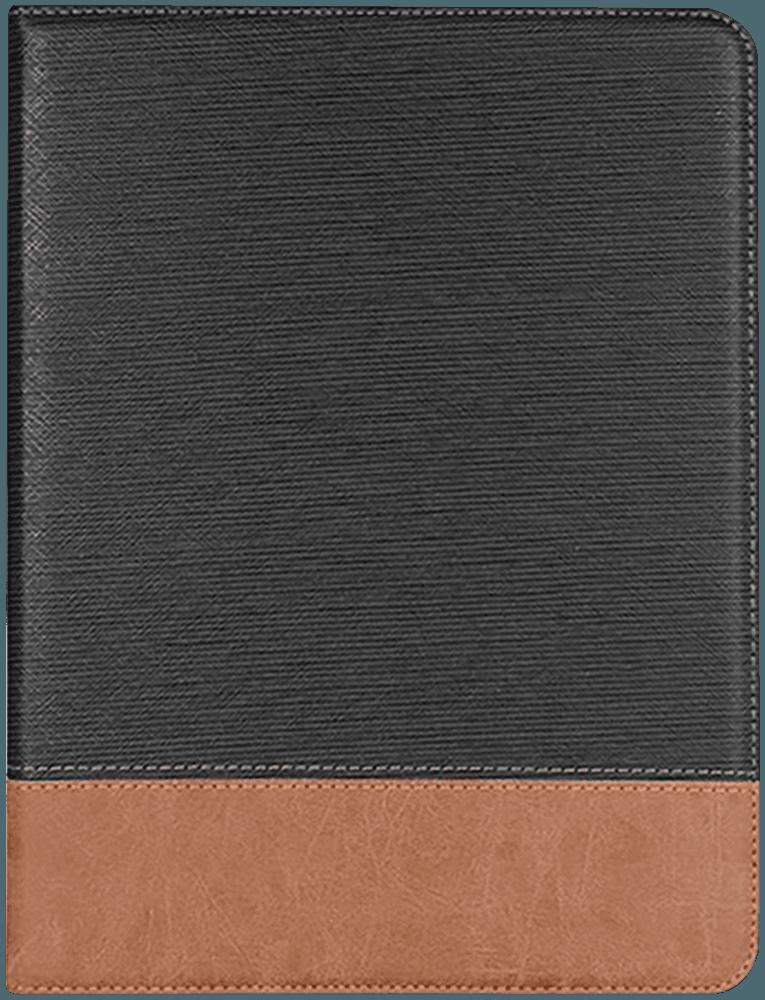 Apple iPad Pro 11 (2018) oldalra nyíló flipes bőrtok textil mintás fekete
