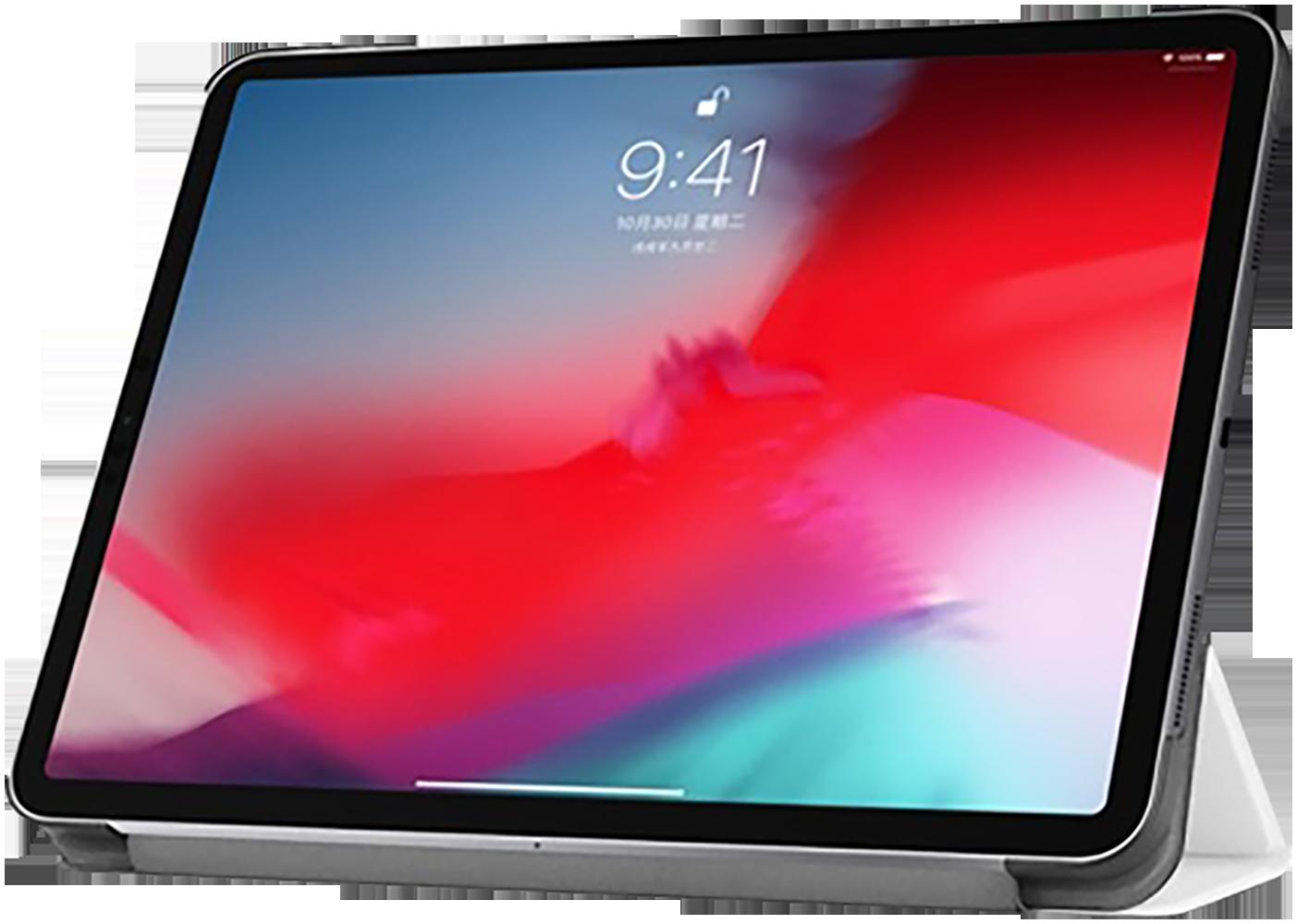 Apple iPad Pro 11 (2018) oldalra nyíló flipes bőrtok TRIFOLD asztali tartó funkció fehér
