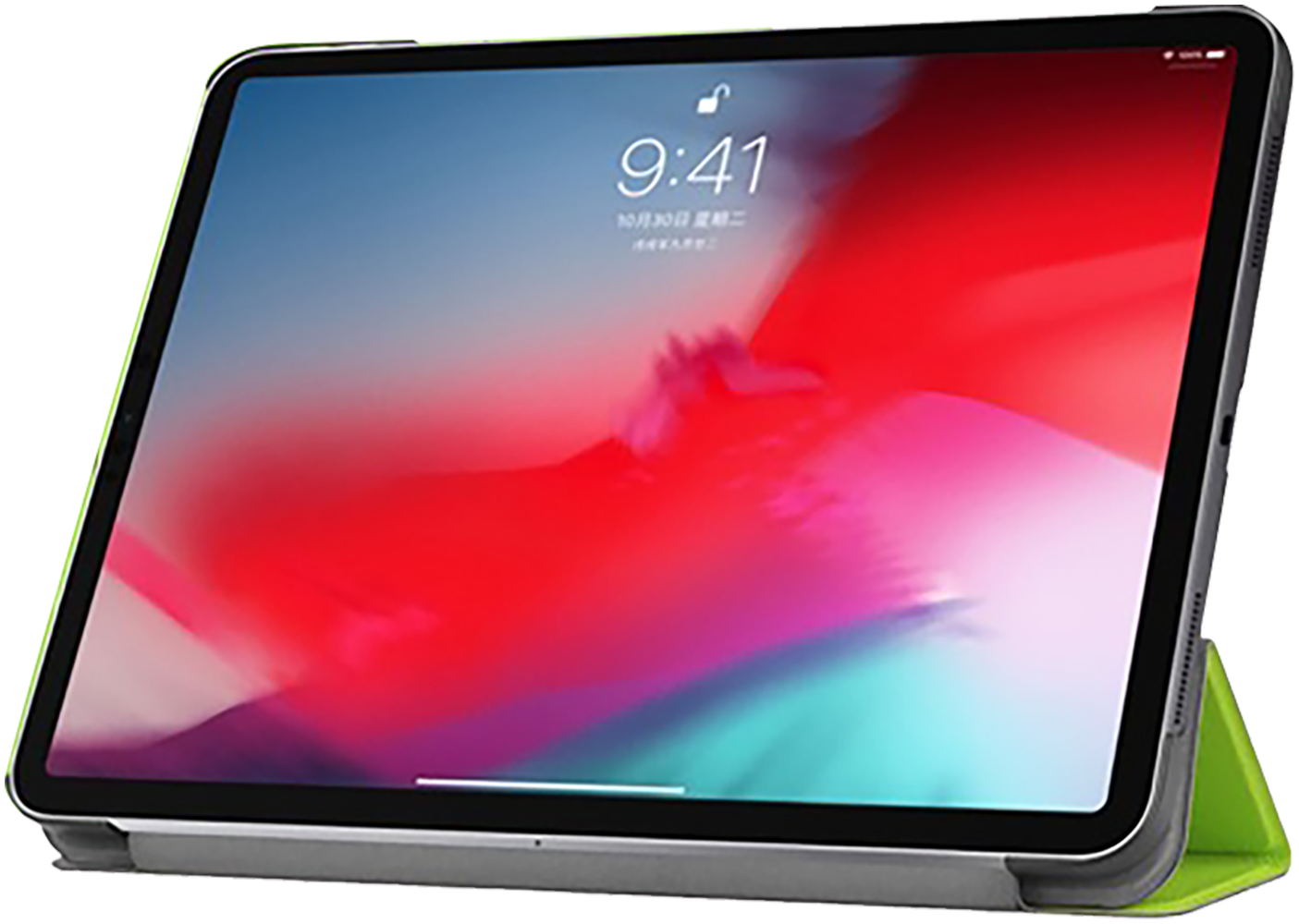 Apple iPad Pro 11 (2018) oldalra nyíló flipes bőrtok TRIFOLD asztali tartó funkció világoszöld