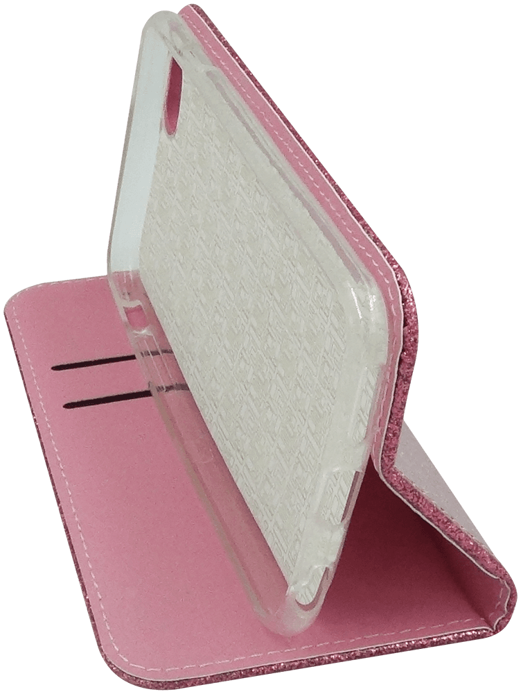 Apple iPhone 6 oldalra nyíló flipes bőrtok csillámos rózsaszín