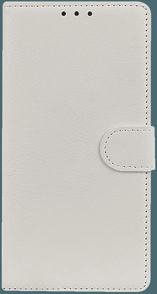 Huawei P40 oldalra nyíló flipes bőrtok asztali tartó funkciós fehér