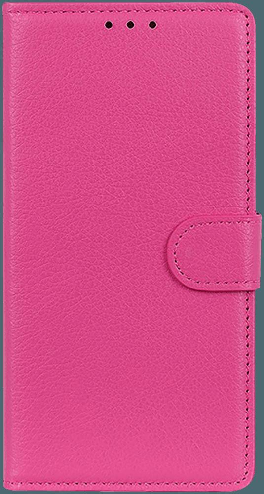 Huawei P40 oldalra nyíló flipes bőrtok asztali tartó funkciós rózsaszín