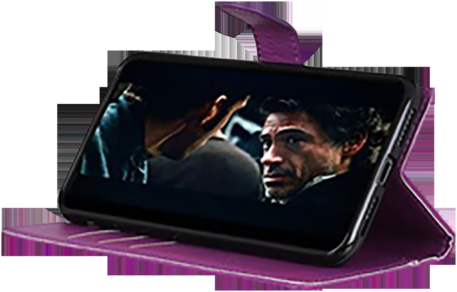 Huawei P40 oldalra nyíló flipes bőrtok asztali tartó funkciós lila