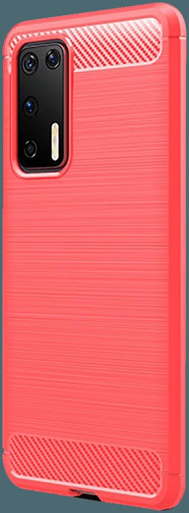 Huawei P40 ütésálló TPU tok szálcsiszolt - karbon minta légpárnás sarok piros
