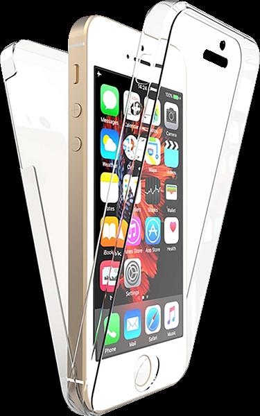 Apple iPhone 5S kemény hátlap szilikon előlap 360° védelem átlátszó