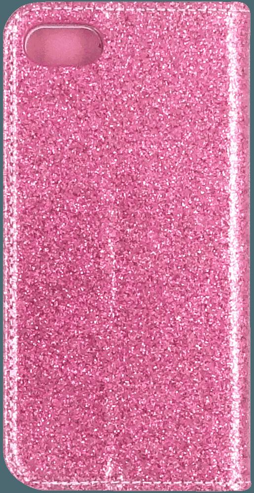Apple iPhone SE (2020) oldalra nyíló flipes bőrtok csillámos rózsaszín