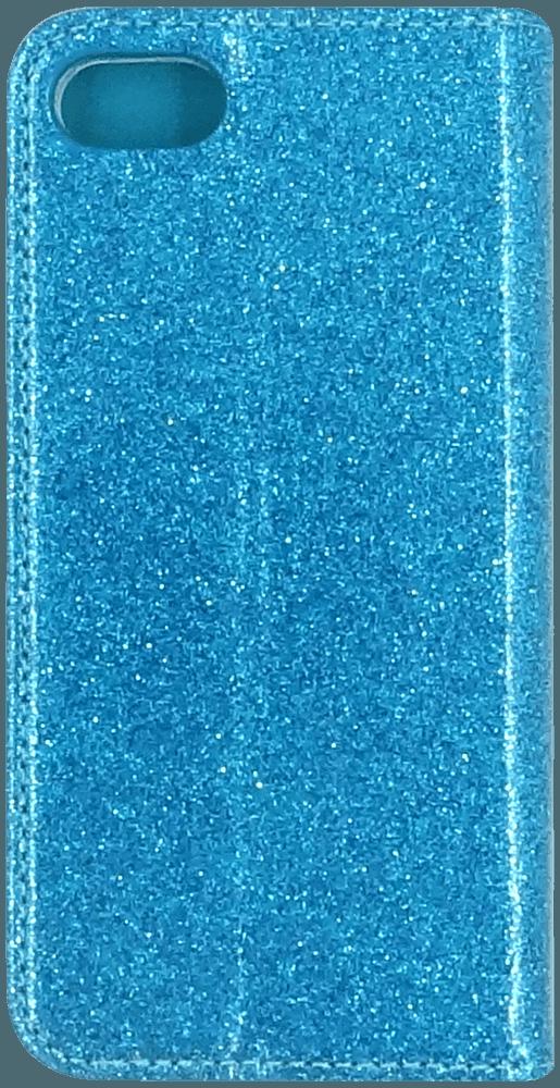 Apple iPhone SE (2020) oldalra nyíló flipes bőrtok csillámos kék